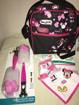 Disney Minnie Mouse 5 pcs Baby Diaper Bag Set Bib Socks Bott