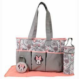 Disney Minnie Mouse 5pcs Large & Small Baby Diaper Bag, Bott