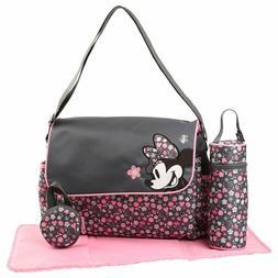 Disney Minnie Mouse Messenger 4 pcs Baby Diaper Bag Gray Pin