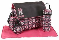Disney Minnie Mouse Multi Piece Diaper Bag with Flap, Floral
