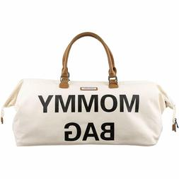 Madellena Mommy Bag Stylish Chic Canvas Off White Cream Diap