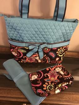 Monkey Island Print 3pcs Baby Quilted Diaper Bag New N.Gil