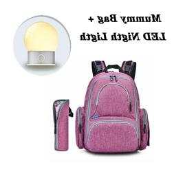 Mummy Bag Large Capacity Baby Travel Backpack + LED Touch Co