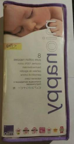 Bambino MIO NAPPY 8 Pure Cotton Nappies sz small up to 16lbs