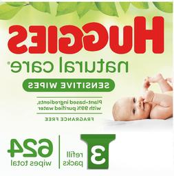 Huggies Natural Care Sensitive Baby Wipes, Unscented, 3 Refi