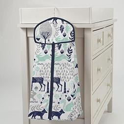 Carousel Designs Navy and Mint Woodlands Diaper Stacker