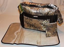NEW – 3 Piece Baby Diaper Bag - Brown Cream Brocade - Bag