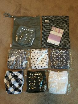 NEW Baby Cloth Pocket Diapers 7 Pack 7 Bamboo Inserts 1 Wet
