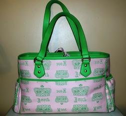 New Juicy couture Baby Diaper Bag or Overnight Bag Pink Gree