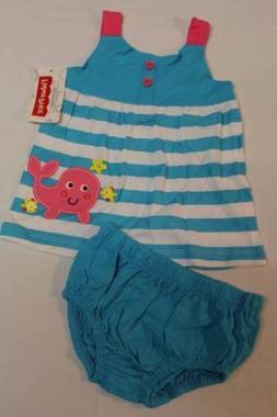NEW Baby Girl 2pc Set 3 - 6 Months Shirt Tank Top Dress Diap