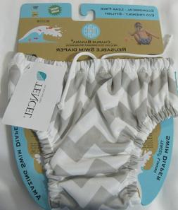 NEW Charlie Banana Baby Reusable Swim Diaper - Grey Chevron