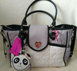 NEW BETSEY JOHNSON DIAPER BAG CREAM MULT BABY BAG WITH CHANG