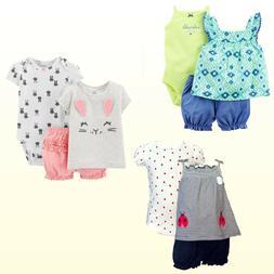 New Carter's Baby Girls Diaper Cover Sets Top Bodysuit & Dia