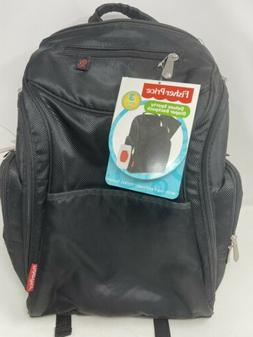 NEW Fisher Price Black Deluxe Diaper Backpack & Wipes Pouch
