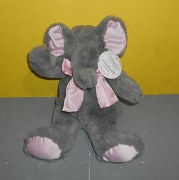 "New Stephan Baby Gray Elephant 12"" Plush Stuffed Lovey Satin"