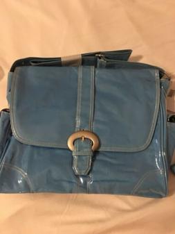 New Orleans Kalencom diaper bag Baby Blue Corduroy Vinyl Ove