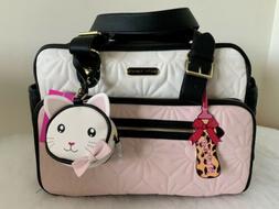 NEW BETSEY JOHNSON Pink/Cream Diaper Bag Weekender Tote MSRP
