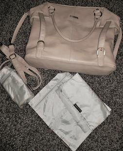 NEW*timi & leslie Baby Diaper Bag*Faux Leather Beige Tan*Wit