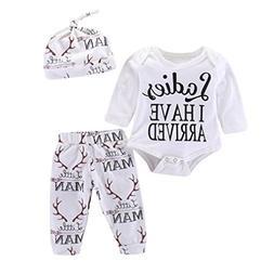 FEITONG 3Pcs Newborn Baby Boys Girls Letter Deer Print Rompe