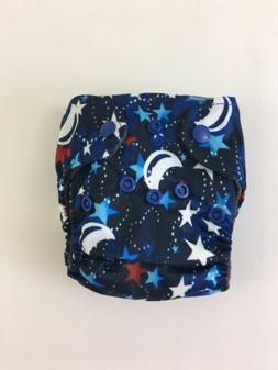Newborn Baby Cloth Diaper AIO 0-3 Month Double Gussets Blue