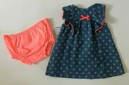 Newborn Baby Girl Small Wonders 2 Pc Set Dress w/Diaper Cove