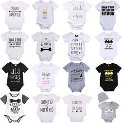 Lots Newborn Baby Boy Girl Letter Print Romper Bodysuit Jump