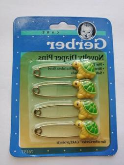 Gerber Novelty Baby Diaper Pins With Yellow and Green Turtle