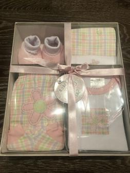 NWT 4 PC BABY GIRL GIFT SET- HAT, BOOTIES, TEE & DIAPER COVE