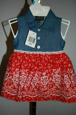 NWT Lilt Baby Girl's 3-6 Months Red, White, & Blue Summer Dr