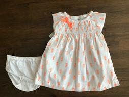 NWT Carter's Baby Girls Pineapple Lined Dress Diaper Cover I