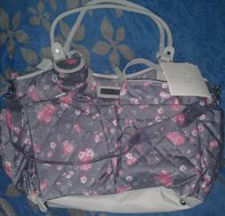 NWT Laura Ashley Gray And Pink Floral Tote Diaper Bag 6 Piec