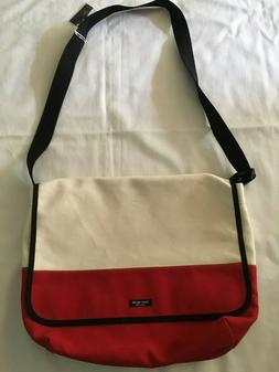 NWT KATE SPADE BABY DIAPER MESSENGER BAG 2 TONE CANVAS RED &