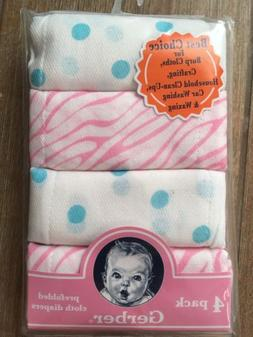 NWT, GERBER SET PREFOLDED CLOTH DIAPERS 4 PACK BABY PINK BLU