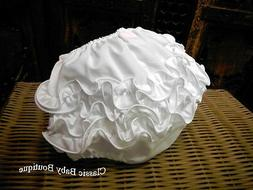 NWT Will'Beth White Ruffle Diaper Cover Bloomers Newborn Sma