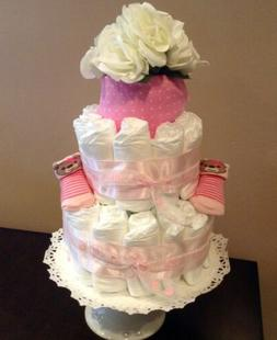 ** ON SALE**. 2+ Tier Pink  Diaper Cake, Baby Shower, New Ba