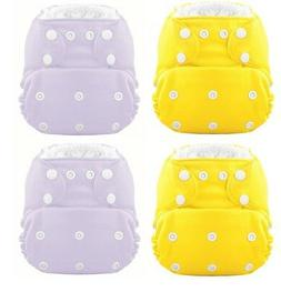 On Sale! The HERO Pocket Cloth Diaper  2 Yellow 2 Purple -M1