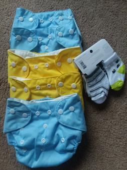 One Size 5 washable baby pocket nappy cloth reusable diaper