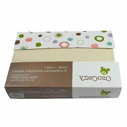 OsoCozy - Prefolds Unbleached Cloth Diapers, Size 1, 6 Pack