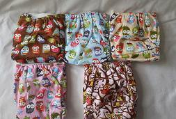 owl design Baby Reusable Cloth Diapers Nappy set with one In