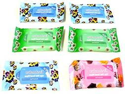 Lot of 6 Packs Travel Size 10 Pack Wet Towel Wipes Baby Wipe