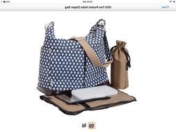 OiOi Patent Two Pocket Hobo Nappy Bag - Monaco Blue