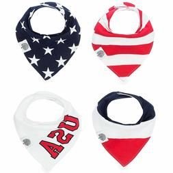 Patriotic USA Baby Bandana Drool Bibs, The Good Baby 4 Pack
