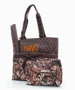 Personalized Natural Camo Diaper Bag Set with Brown Trim FRE