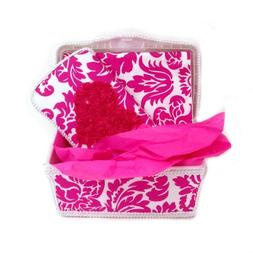 Hot Pink damask with hot pink chiffon heart 3 piece set baby