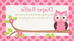 Pink Owl Printed Diaper Raffle Tickets Baby Shower Games
