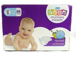DG Baby Premium Diapers Size 2,  86 Count New