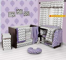Bacati - Purple/Grey Ikat Chevron Muslin 10 Pc Crib Set With