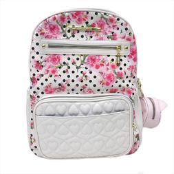 BETSEY JOHNSON QUILTED FLORAL CREME 3PC BABY DIAPER BACKPACK