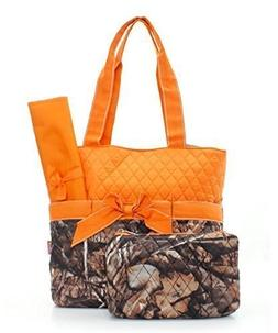 quilted orange camo print monogrammable
