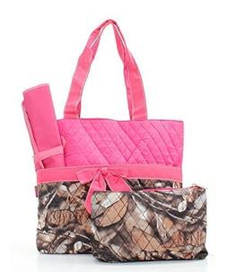 Quilted Hot Pink And Natural Camo Print Monogrammable 3 Piec
